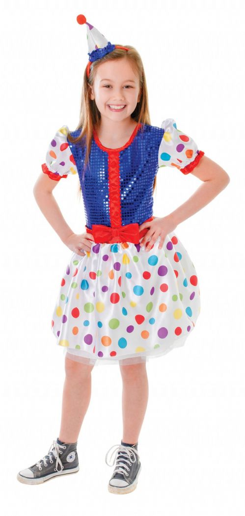 Childs Clown Dress + Headband Costume Circus FunFair Parade Fancy Dress Outfit